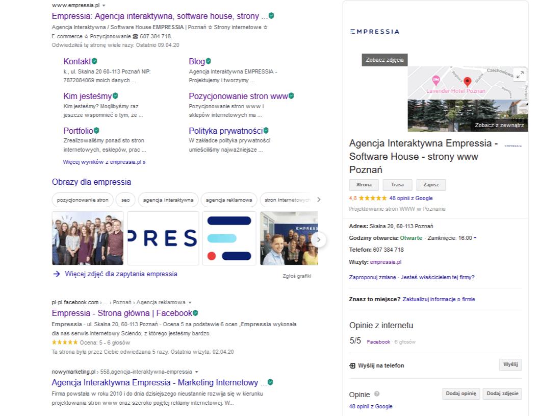 google moja firma informacje ostronie