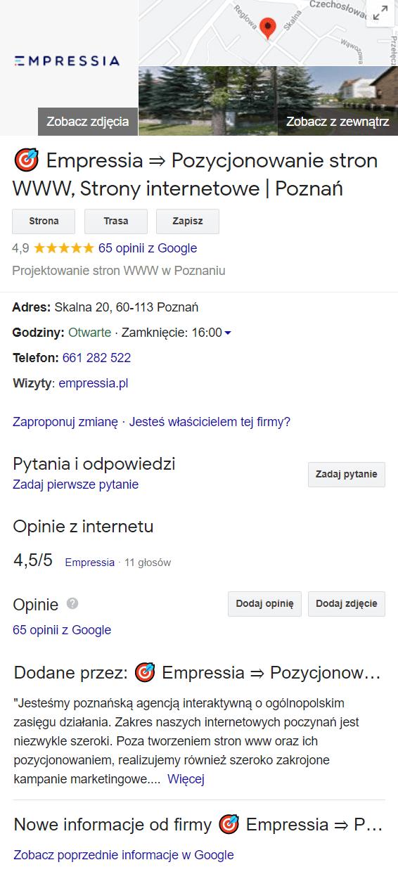 przykład wizytówki wGoogle Moja Firma