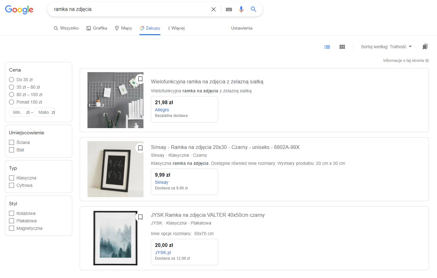 google zakupy przykład