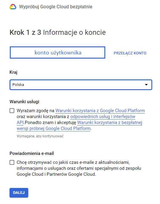 rejestracja wGoogle Cloud